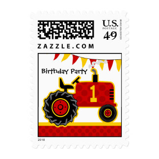 Red Tractor 1st Birthday Postage
