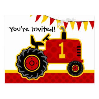 Red Tractor 1st Birthday Postcard Invitation