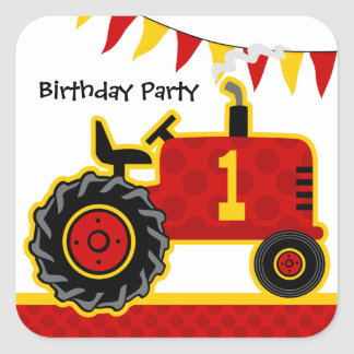 Red Tractor 1st Birthday Square Sticker