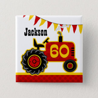 Red Tractor 60th Birthday Pinback Button