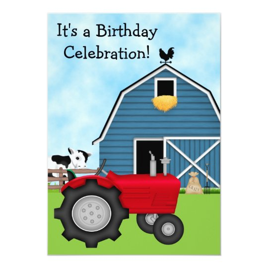 Red Tractor and Blue Barn Birthday Invite ~ Boys