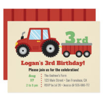Red Tractor and Cart Kids Birthday Party Invitation