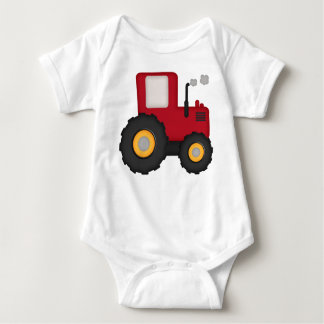 Red Tractor and Little Farmer Boy Baby Bodysuit