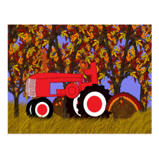 Red Tractor and Turkeys Postcard