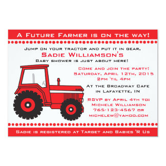Red Tractor Baby Shower Invitation