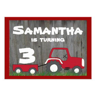 Red Tractor Birthday Invitation: Age in Cart