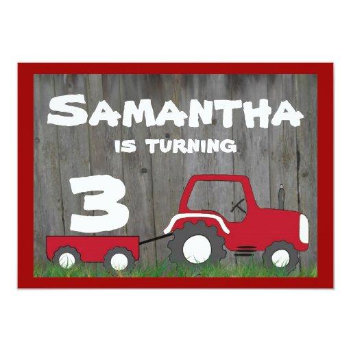 "Red Tractor Birthday Invitation: Age in Cart 5"" X 7"" Invitation Card"