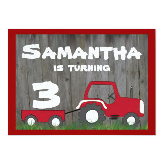 Red Tractor Birthday Invitation: Age in Cart Card