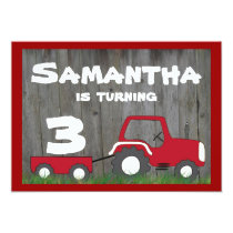 Red Tractor Birthday Invitation: Age in Cart Invitation