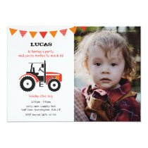 Red Tractor Birthday Party Invite With Photo
