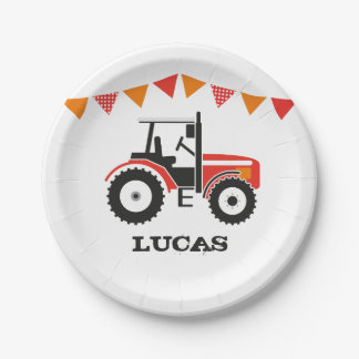 Red Tractor Birthday Party Paper Plate