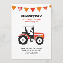 Red Tractor Birthday Thank You Note Card