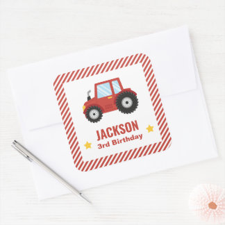 Red Tractor Boys Birthday Party Decor Square Sticker