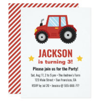 Red Tractor Boys Birthday Party Invitation