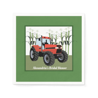 Red Tractor Bridal Shower Napkin