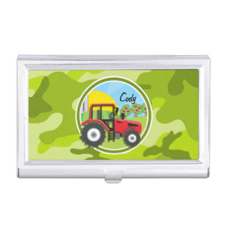 Red Tractor; bright green camo, camouflage Business Card Case