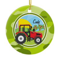 Red Tractor; bright green camo, camouflage Ceramic Ornament