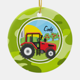Red Tractor; bright green camo, camouflage Double-Sided Ceramic Round Christmas Ornament