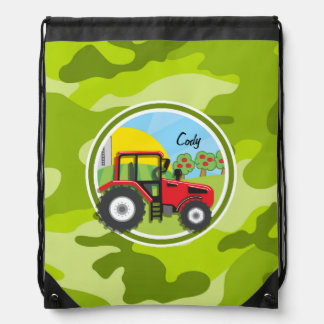 Red Tractor; bright green camo, camouflage Drawstring Backpack