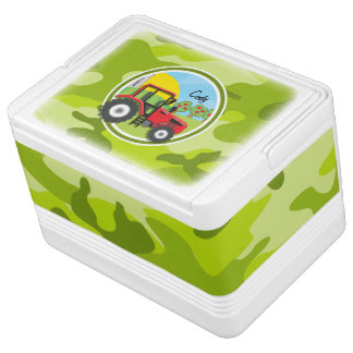 Red Tractor; bright green camo, camouflage Drink Cooler