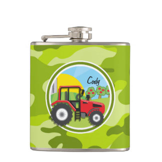 Red Tractor; bright green camo, camouflage Flask