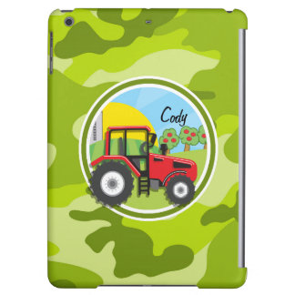 Red Tractor; bright green camo, camouflage iPad Air Covers