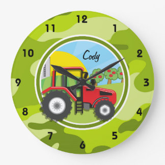 Red Tractor; bright green camo, camouflage Large Clock