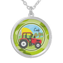 Red Tractor; bright green camo, camouflage Silver Plated Necklace