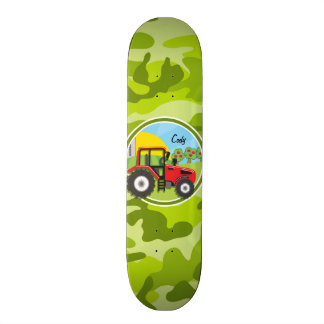 Red Tractor; bright green camo, camouflage Skate Deck