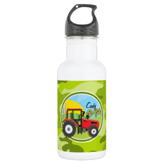 Red Tractor; bright green camo, camouflage Stainless Steel Water Bottle