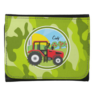 Red Tractor; bright green camo, camouflage Wallets