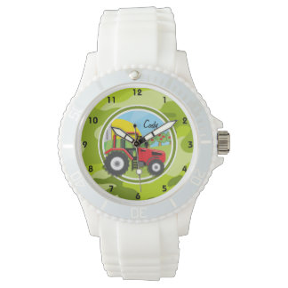 Red Tractor; bright green camo, camouflage Wristwatch