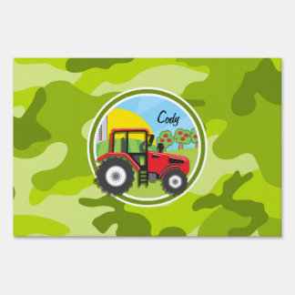 Red Tractor; bright green camo, camouflage Yard Signs