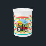 """Red Tractor; Bright Rainbow Stripes Beverage Pitcher<br><div class=""""desc"""">Cool,  cute red farm tractor with green field on  colorful red,  orange,  yellow,  green,  blue,  white rainbow stripes  pattern.  Personalize this kids farmer theme product with name.</div>"""