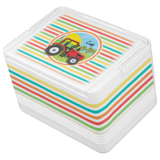 Red Tractor; Bright Rainbow Stripes Cooler