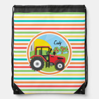 Red Tractor; Bright Rainbow Stripes Drawstring Bag