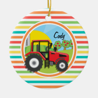 Red Tractor; Bright Rainbow Stripes Double-Sided Ceramic Round Christmas Ornament