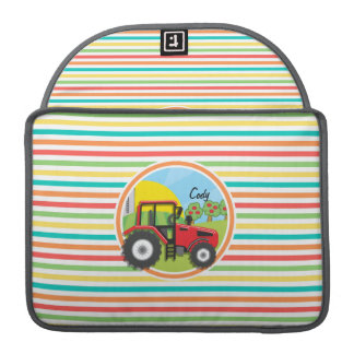 Red Tractor; Bright Rainbow Stripes Sleeves For MacBook Pro
