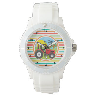 Red Tractor; Bright Rainbow Stripes Watch