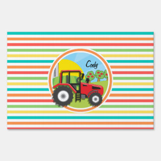 Red Tractor; Bright Rainbow Stripes Sign