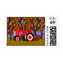 Red Tractor by Autumn Trees and Turkeys Postage