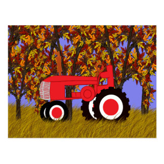 Red Tractor by Autumn Trees Postcard