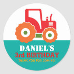Red Tractor Cartoon Kids Birthday Party Sticker