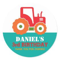 Red Tractor Cartoon Kids Birthday Party Sticker