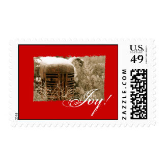 Red Tractor Christmas Postage: Joy! Postage