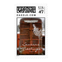 Red Tractor Christmas Postage Stamp