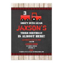 Red tractor farm birthday invitation boy