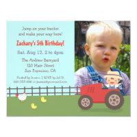 Tractor birthday invitations announcements zazzle red tractor farm birthday party photo invitations filmwisefo
