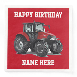 Red Tractor Farming Birthday Napkins