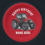 """Red Tractor Farming Birthday Plates<br><div class=""""desc"""">Happy Birthday plates for the farmer in everyone,  or the farmer that loves red farm equipment. The farm kid that loves equipment will love seeing their birthday meal on these plates. Make it a birthday they will never forget.</div>"""